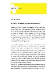 """MEDIENMITTEILUNG Das """"vatterland"""" am Bärenplatz feiert 15 Jahre"""