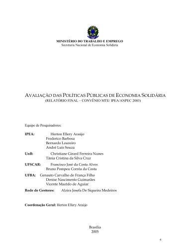 Avaliação das Políticas Públicas de Economia Solidária