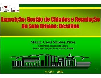 Gestão de cidades e regulação do solo urbano - Secretaria de ...