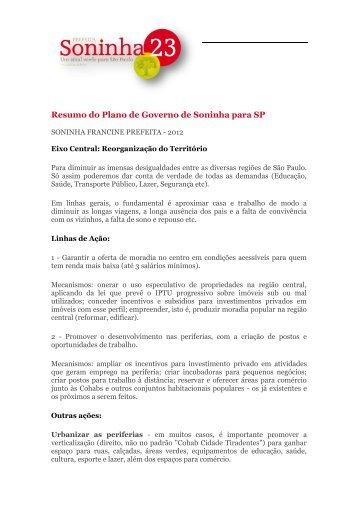 Resumo do Plano de Governo de Soninha para SP