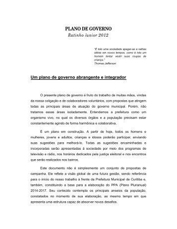 Plano de Ratinho Jr. - Gazeta do Povo