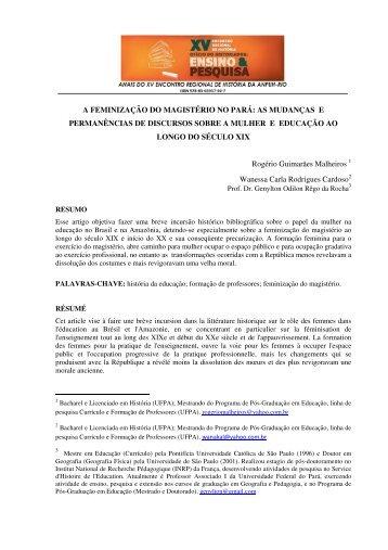 a feminização do magistério no pará - XV Encontro Regional de ...