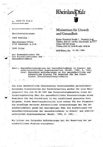 gesundheitliche Eignung - Landesforsten Rheinland-Pfalz