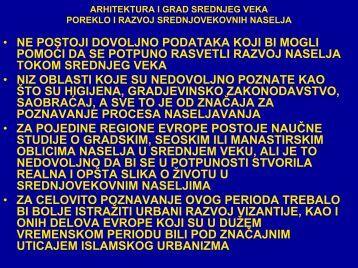 ARHITEKTURA I GRAD SREDNJEG VEKA POREKLO I RAZVOJ ...