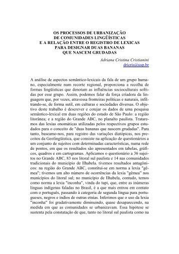 os processos de urbanização de comunidades lingüísticas ea ...