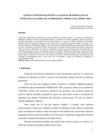 1 ações e contexto da política nacional de habitação - Emapegs.ufv.br