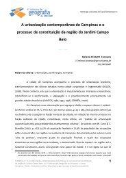 A urbanização contemporânea de Campinas eo ... - IGEO- Unicamp