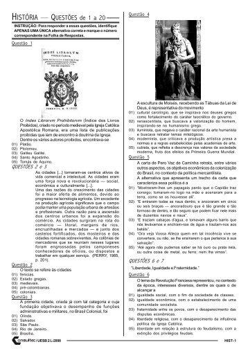 HISTÓRIA — QUESTÕES de 1 a 20 - Vestiblogando