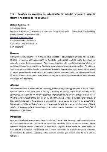 Desafios no processo de urbanização de grandes favelas - USP