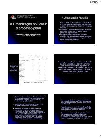 A Urbanização no Brasil: o processo geral - Universidade Federal ...