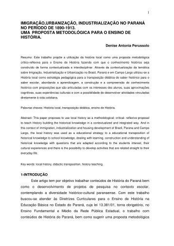 imigração,urbanização, industrialização no paraná - Secretaria de ...