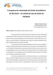 O programa de urbanização de favelas - IGEO- Unicamp
