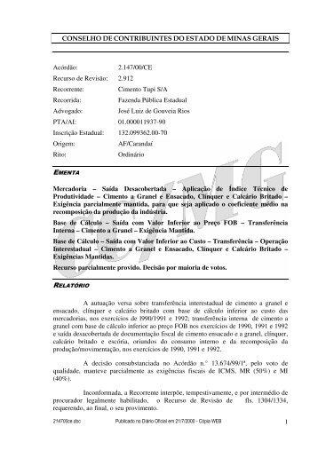 Microsoft Word - 214700CE.doc - Secretaria de Estado de Fazenda ...