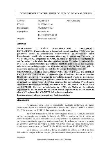 CONSELHO DE CONTRIBUINTES DO ESTADO DE MINAS GERAIS ...
