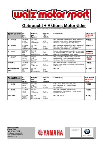 Gebraucht+AktionsBIK.. - walz  motor sport gmbh