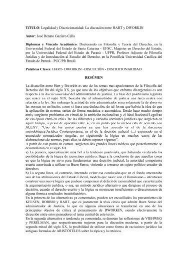 o Debate entre Hart e Dworkin - José Renato Gaziero Cella