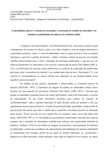 1 Corporalidade, consumo, mercado ST. 43 Sandra Rúbia da Silva ...