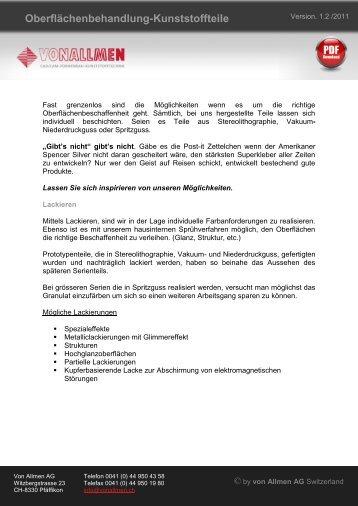 Oberflächenbehandlung-Kunststoffteile - von Allmen AG
