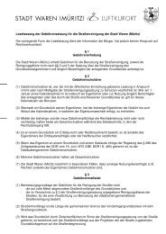 Gebührensatzung zur Straßenreinigungssatzung - Waren