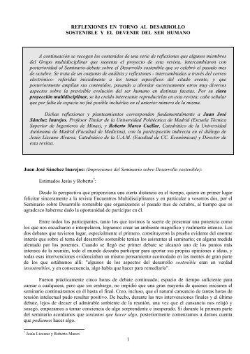 Reflexiones en torno al desarrollo sostenible y el - Encuentros ...