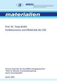 Funktionsweise und Effektivität der GEF - WBGU