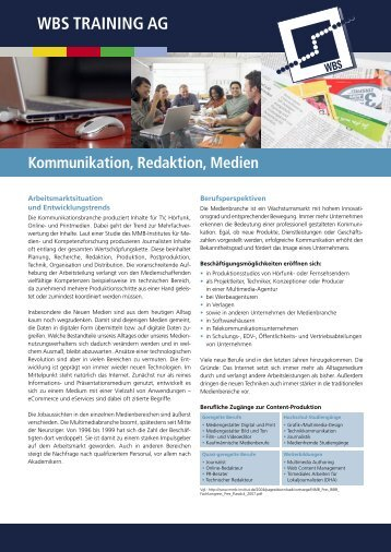 Kommunikation, Redaktion, Medien - WBS Training AG
