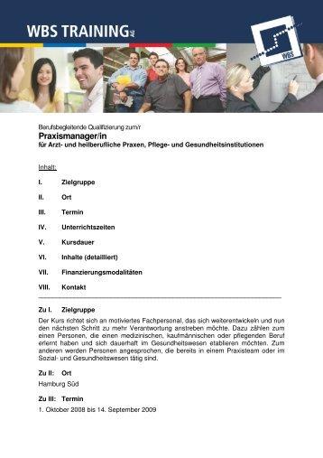 Informationsblatt Praxismanagement - WBS Training AG