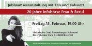 20 Jahre Infobörse Frau & Beruf - WEGE mbH