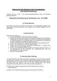 Satzung für die Erhebung einer Hundesteuer - Gemeinde Wehringen