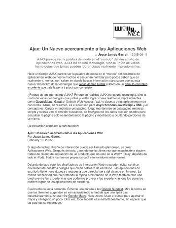 Ajax: Un Nuevo acercamiento a las Aplicaciones Web - Willy .Net