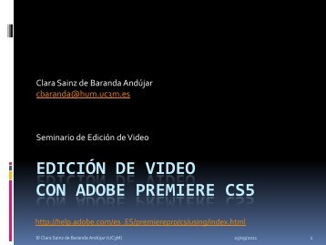 EDICIÓN DE VIDEO CON ADOBE PREMIERE - e-Archivo