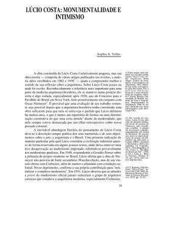 lúcio costa: monumentalidade e intimismo - Revista Novos Estudos