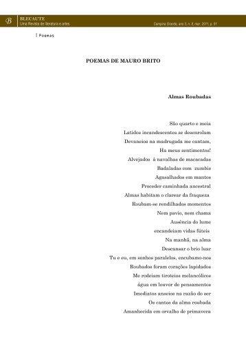 POEMAS: Almas Roubadas, Descalço e outros ... - Revista Blecaute