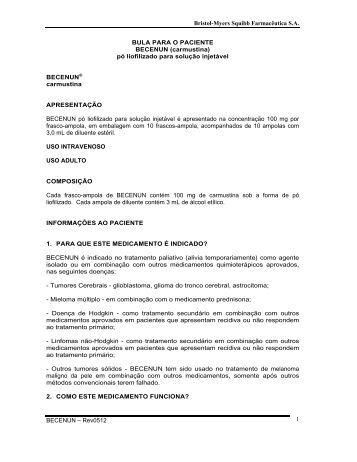 Bristol-Myers Squibb Farmacêutica S.A. BECENUN – Rev0512 1 ...