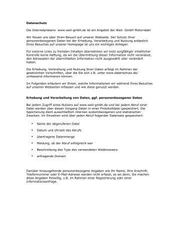 Datenschutz Die Internetpräsenz www.weil-gmbh.de ist ein Angebot  ...