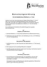 Benutzungsordnung Stadtbücherei - Stadt Weilheim an der Teck