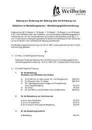 Bestattungsgebührenordnung - Stadt Weilheim an der Teck