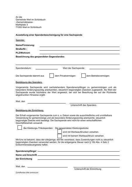 spendenbescheinigung formular