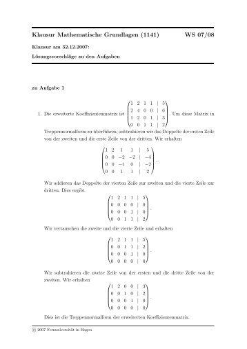 Klausur Mathematische Grundlagen (1141) WS 07/08