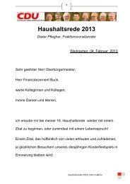 Haushaltsrede 2013| CDU-Fraktion - Stadt Weingarten