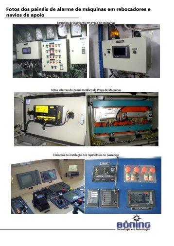 Exemplo de painéis de alarmes em rebocadores e navios de aopio