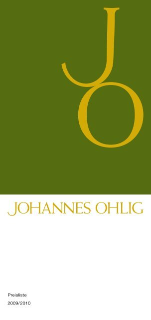 Preisliste 2009/2010 - Johannes Ohlig