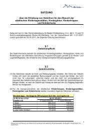 Satzung über die Erhebung von Gebühren für den - Stadt Weinheim