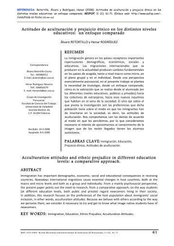 Actitudes de aculturación y prejuicio étnico en los - Revista ...