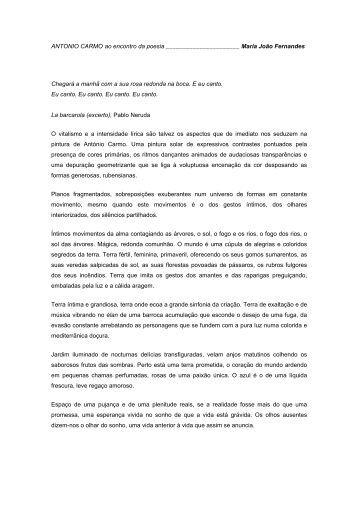 António Carmo - Crítica de Maria João Fernandes - Movimento Arte ...