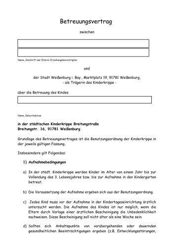 Betreuungsvertrag - Stadt Weißenburg