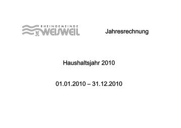Jahresrechnung Haushaltsjahr 2010 01.01.2010 – 31.12.2010