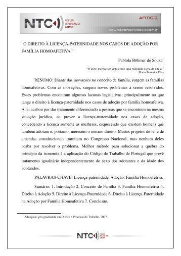 """""""O DIREITO À LICENÇA-PATERNIDADE NOS CASOS DE ADOÇÃO ..."""