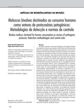Moluscos bivalves destinados ao consumo humano como vetores ...