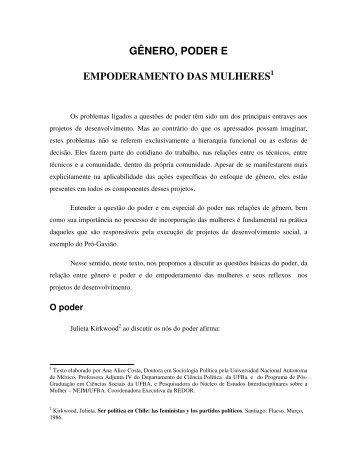 GÊNERO, PODER E EMPODERAMENTO DAS MULHERES1